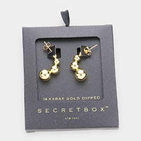 Secret Box _ 14K Gold Dipped Geometric Metal Ball Earrings