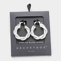 Secret Box _ Sterling Silver Dipped Braided Metal Hoop Pin Catch Earrings