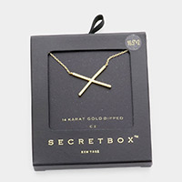 Secret Box _ 14K Gold Dipped CZ Crisscross Pendant Necklace