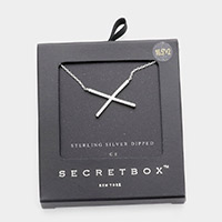 Secret Box _ Sterling Silver Dipped CZ Crisscross Pendant Necklace