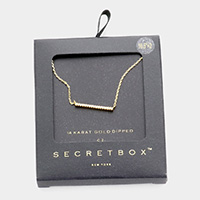 Secret Box _ 14K Gold Dipped CZ Bar Pendant Necklace