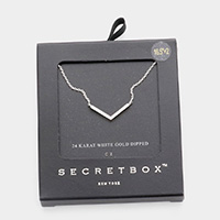 Secret Box _ 24K White Gold Dipped CZ Chevron Pendant Necklace