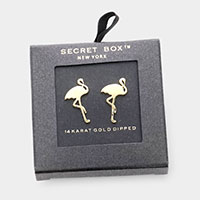 Secret Box _ 14K Gold Dipped Metal Flamingo Stud Earrings
