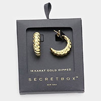 Secret Box _ 14K Gold Dipped Bold Metal Hoop Earrings