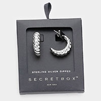 Secret Box _ Sterling Silver Dipped Bold Metal Hoop Earrings