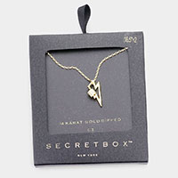 Secret Box _ 14K Gold Dipped CZ Metal Lightning Pendant Necklace
