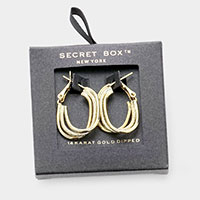 Secret Box _ 14K Gold Dipped Triple Metal Oval Hoop Layered Earrings