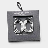 Secret Box _ Sterling Silver Dipped Triple Metal Oval Hoop Layered Earrings