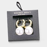 Secret Box _ 14K Gold Dipped Metal Hoop Pearl Dangle Earrings