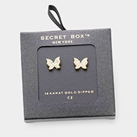 Secret Box _ 14K Gold Dipped CZ Butterfly Stud Earrings