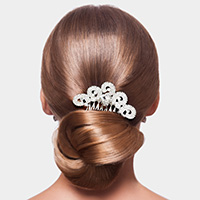 Heart Stone Accented Rhinestone Hair Comb