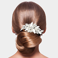 Round Stone Embellished Metal Leaf Hair Comb