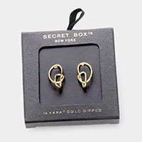Secret Box _ 14K Gold Dipped Abstract Metal Stud Earrings