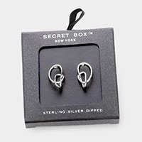 Secret Box _ Sterling Silver Dipped Abstract Metal Stud Earrings