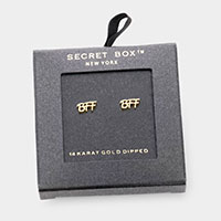 Secret Box _ 14K Gold Dipped BFF Metal Message Stud Earrings