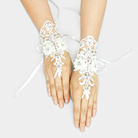 Pearl Stone Flower Lace Up Fingerless Bridal Gloves