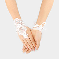 Stone Flower Lace Up Fingerless Bridal Gloves