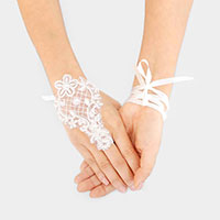Pearl Flower Lace Up Fingerless Bridal Gloves